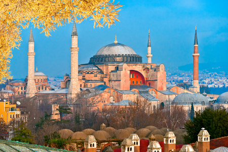 Hagia Sophia in Istanbul. The world famous monument of Byzantine architecture. Tutkey.