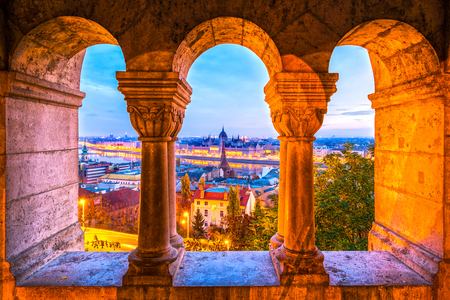 view through: Budapest,  Parliament view through Fishermans Bastion, Hungary Stock Photo