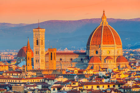 fiore: Cathedral of Santa Maria del Fiore at sunrise, Florence, Italy