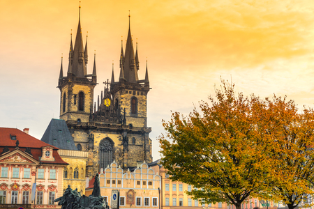 old town square: Prague, Tyn Church and Old Town Square. Czech Republic Stock Photo