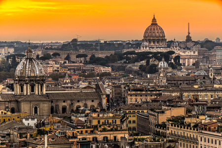 Rome, View of St. Peter Cupola and Vatican.Italy.