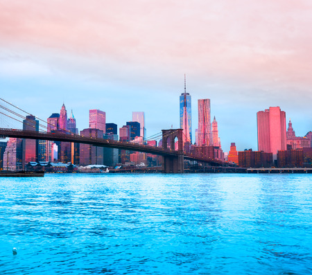 Brooklyn bridge and Manhattan skyline, New York City. USA. Stock Photo