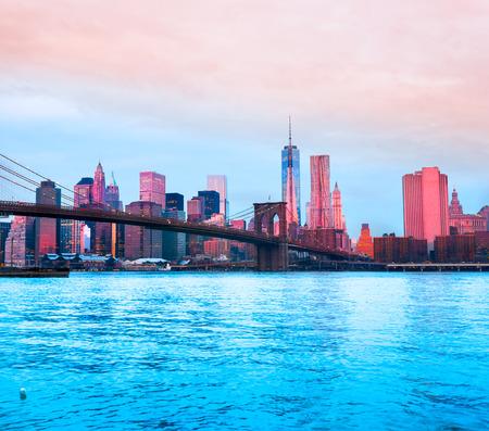 onu: Brooklyn bridge and Manhattan skyline, New York City. USA. Stock Photo