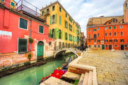 Canal and historic buildings in Venice, Italy