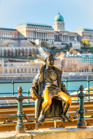 buda: Budapest. The Little Princess, with Buda Castle in background, Hungary. Stock Photo