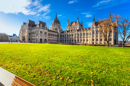 hungarian: Entrance of Budapest parliament at sunrise, Hungary