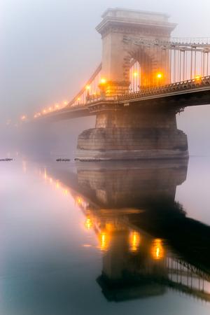 czech republic: Prague, Charles Bridge and Mala Strana in a foggy day., Czech Republic