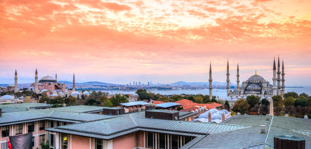 Hagia Sophia and Blue Mosque in Istanbul. Turkey. Stock Photo