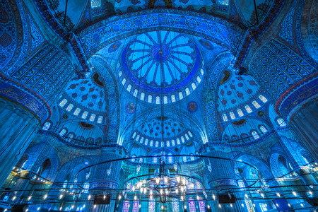 Inside The Blue Mosque, (Sultanahmet Camii), Istanbul, Turkey. 新聞圖片