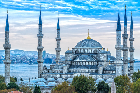 De blauwe moskee, (Sultanahmet Camii), Istanbul, Turkije. Stockfoto