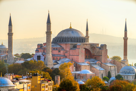 constantinople: Hagia Sophia in Istanbul. The world famous monument of Byzantine architecture. Turkey.