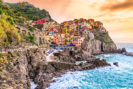spezia: Manarola fishing village, seascape in Five lands, Cinque Terre National Park, Liguria, Italy.