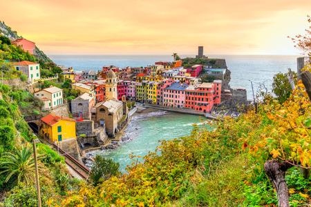 Vernazza fishing village, seascape in Five lands, Cinque Terre National Park, Liguria, Italy.