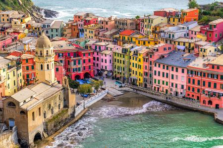 vernazza: Vernazza fishing village, seascape in Five lands, Cinque Terre National Park, Liguria, Italy.