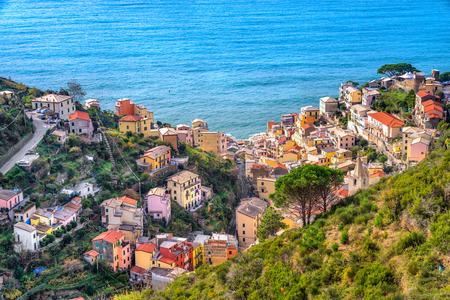 spezia: Riomaggiore aerial view, Cinque Terre National Park, Liguria, Italy.