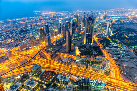 tallest: Dubai skyline at dusk, UAE. Stock Photo
