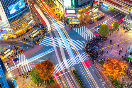 Aerial view of Shibuya District and Shibuya Crossing, Tokyo. The scramble crosswalk is one of the largest in the world. Archivio Fotografico