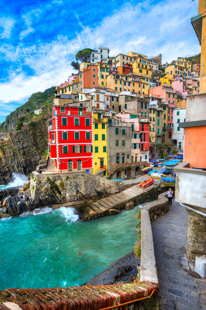 sea cliff: Riomaggiore village, Cinque Terre National Park, Liguria, Italy.