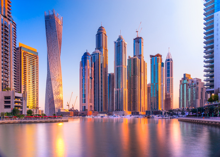 Skyscrapers in Dubai Marina. UAE Stock Photo