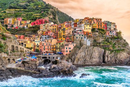 cinque terre: Manarola fishing village, seascape in Five lands, Cinque Terre National Park, Liguria, Italy.