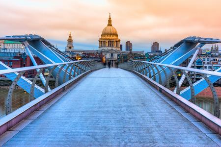 St. Pauls cathedral and Millennium Bridge, London, UK Stock Photo