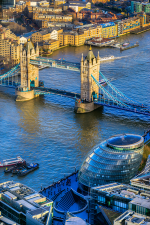 Tower Bridge and Thames River, view from the Shard, London, UK