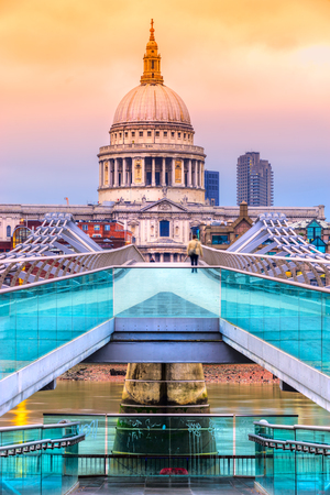 St. Pauls cathedral and Millennium Bridge, London, UK Stock Photo