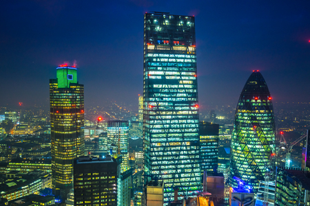 willis: City of London financial district at night, London, UK