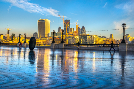 City of London financial district at sunrise, London, UK Stock Photo