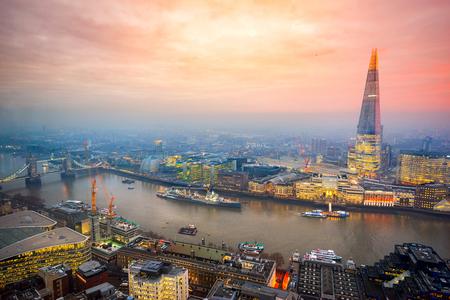 Beautiful sunset over London, with the Shard and London Bridge. London, UK