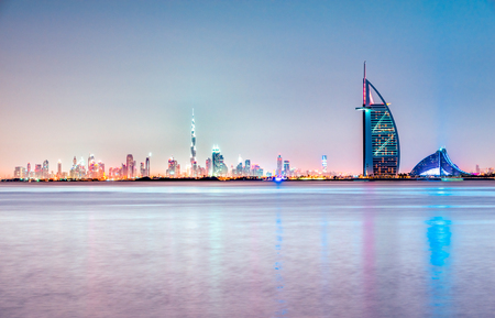 Dubai skyline at dusk, UAE. Foto de archivo