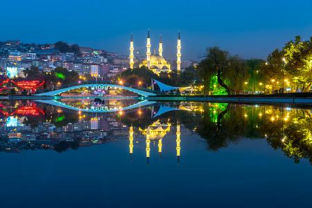 New Melike Hatun Mosque view from Gençlik Park in Ankara,Turkey