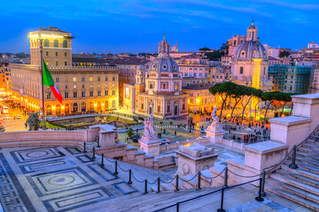 View of Rome with Piazza, Venezia, Traian column and quirinale. Rome, Italy. Stock Photo