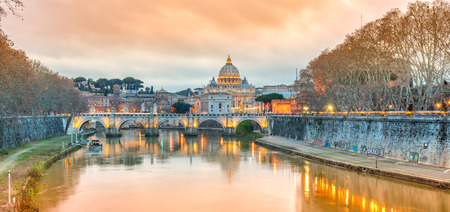 Sunset view of St Peter Cathedral, Rome, Italy