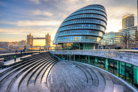 Tower Bridge and London City Hall buildings, London, UK