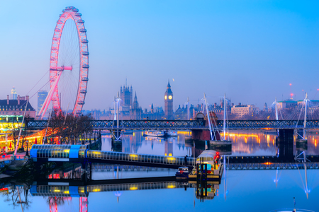 Thge Big Ben, the House of Parliament the Westminster Bridge and the London Eye, London, UK