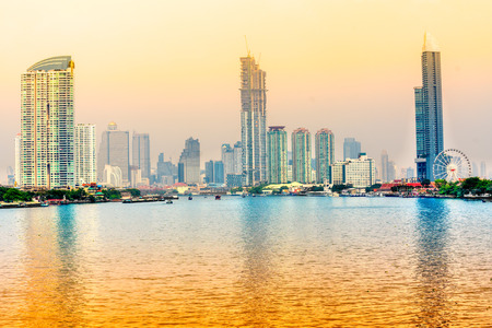 Bangkok skyline at sunset, Bangkok, Thailandia. Stock Photo