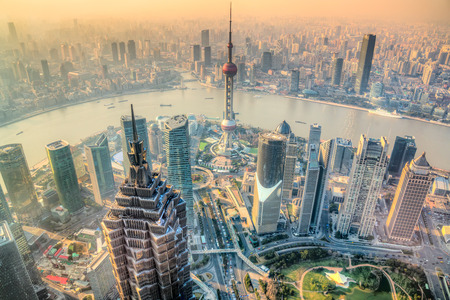 Shanghai city skyline, view of the skyscrapers of Pudong and huangpu River. Shanghai, China. Stockfoto