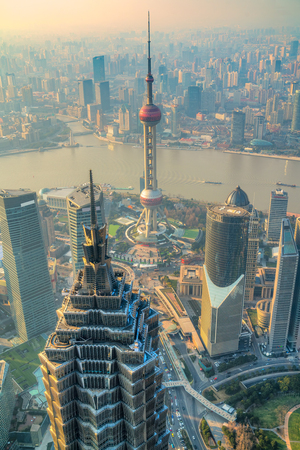 Shanghai city skyline, view of the skyscrapers of Pudong and huangpu River. Shanghai, China. Reklamní fotografie
