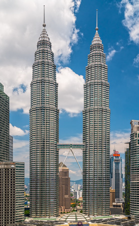 KUALA LUMPUR, MALAYSIA - FEBRUARY 19, 2018:.The Petronas Twin Towers in kuala Lumpur, Malaysia. The building were the tallest buildings (452m) in the world during 1998-2004.
