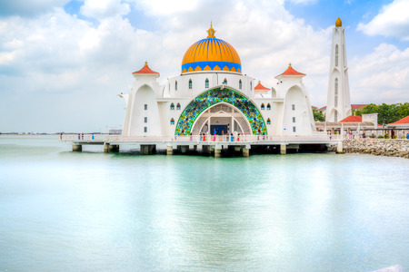 Malacca Straits Mosque, a mosque located on the man-made Malacca Island near Malacca Town, Malaysia