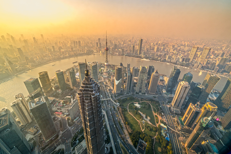 Shanghai city skyline, aerial