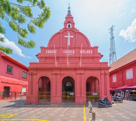 Malacca Christ Church and dutch square in Malacca Town, Malaysia 에디토리얼