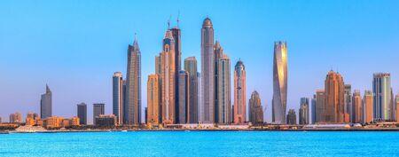 Skyscrapers of Dubai Marina at blue hour, Dubai, UAE