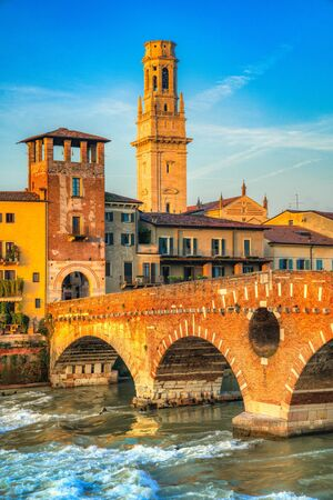 Verona, Italy. Scenery with Adige River and city skyline