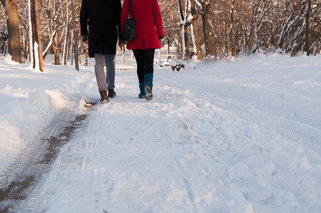 Couple holding each other's hands going through the park in the winter, low section