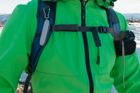 Closeup image of a man hiker with equipment on a mountain 版權商用圖片