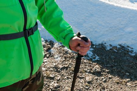 hiking stick: Hiker and hiking stick on winter hiking
