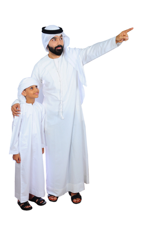arab father and son ( going for shopping )