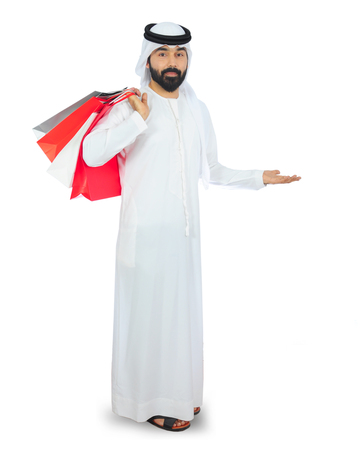arab man shopping ( welcome ) Stock Photo